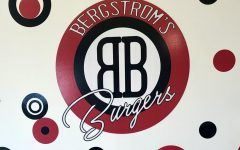 Bergstrom's Burgers diner-themed wall and logo in the restaurant on US-31.